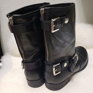 Nine West Black Leather 7M Moto Comat Boots